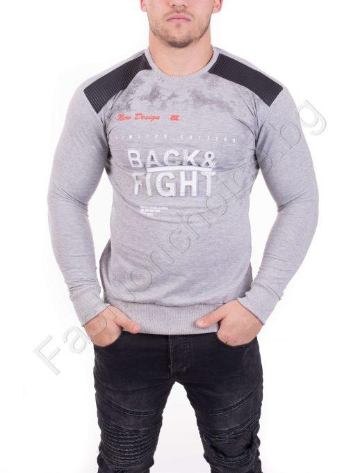Мъжка блуза с надпис и кожени акценти в два нюанса