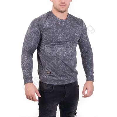 Интересна мъжка блуза от памук в сив меланж