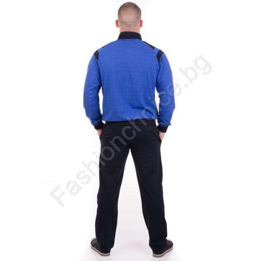 Спортен мъжки комплект в тъмносиво, синьо и червено