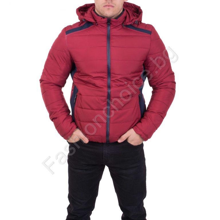 Невероятно мъжко яке с качулка в червено, горчица и каки