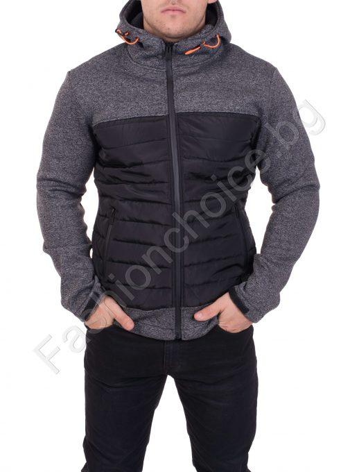 Мъжко плътно спортно яке с качулка и джобчета