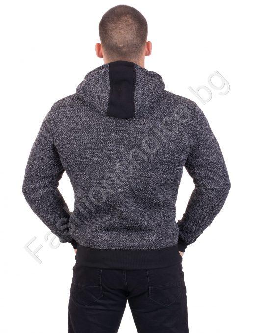 Комфортно плътно мъжко горнище с качулка в три десена