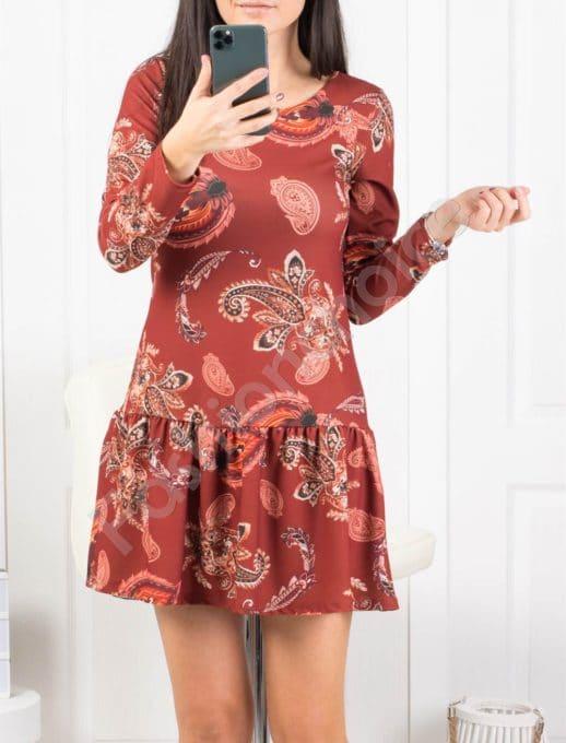 Красива дамска рокля в привлекателен десен Код 263-1