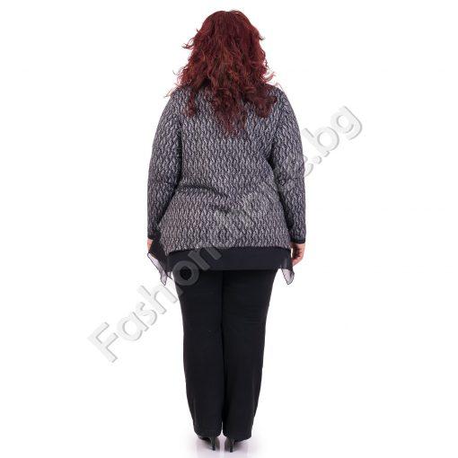 Красива дамска макси жилетка с тюл в тъмносиньо и черно