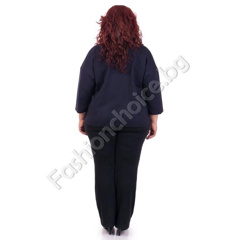 Обаятелен дамски макси жакет в тъмносин десен