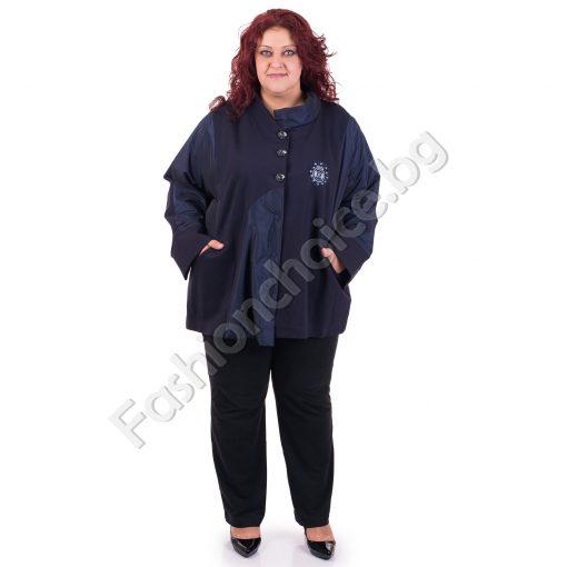 Уникално дамско макси палто с елементи от промазка