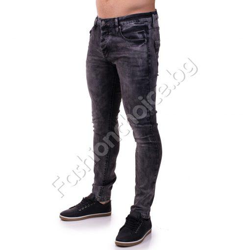 Интересни памучни мъжки дънки в сив десен