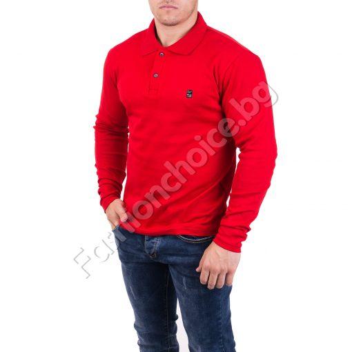 Стилна памучна мъжка блуза с якичка в три десена