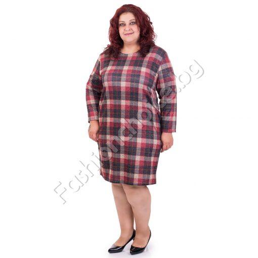 Очарователна макси рокля на каре в топли цветове