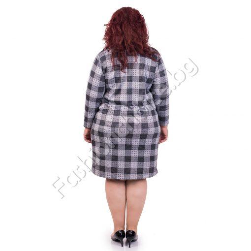 Стилна макси рокля на каре в сив нюанс
