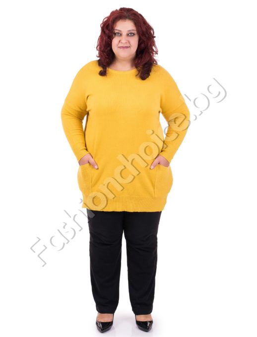 Комфортна макси туника от меко плетиво с джобчета