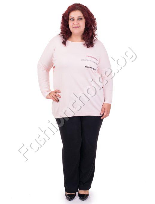 Модерен дамски макси пуловер с нежни камъни