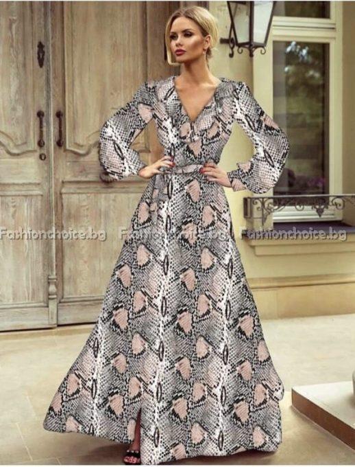 Предизвикателна дълга дамска рокля със змийски принт
