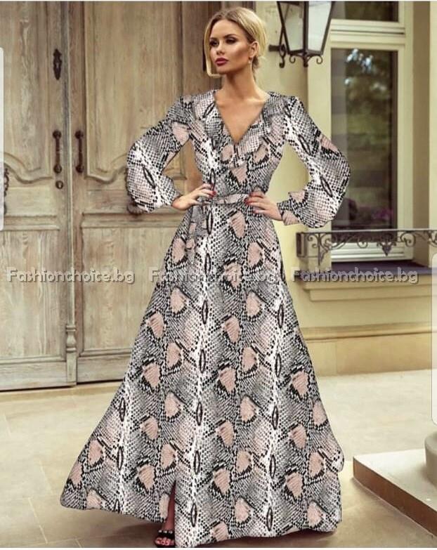 9316241b498 Предизвикателна дълга дамска рокля със змийски принт
