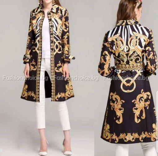 Очарователно дамско тънко палтенце с модерни елементи