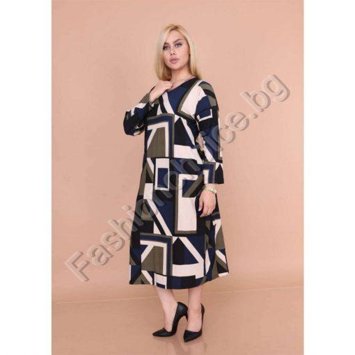 Пъстра дамска макси рокля с абстрактни фигури в три десена