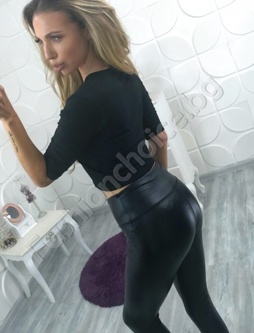 Черна секси дамска блуза с 3/4 ръкав