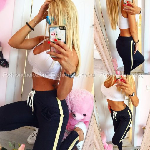 Черен дамски панталон със златен кант