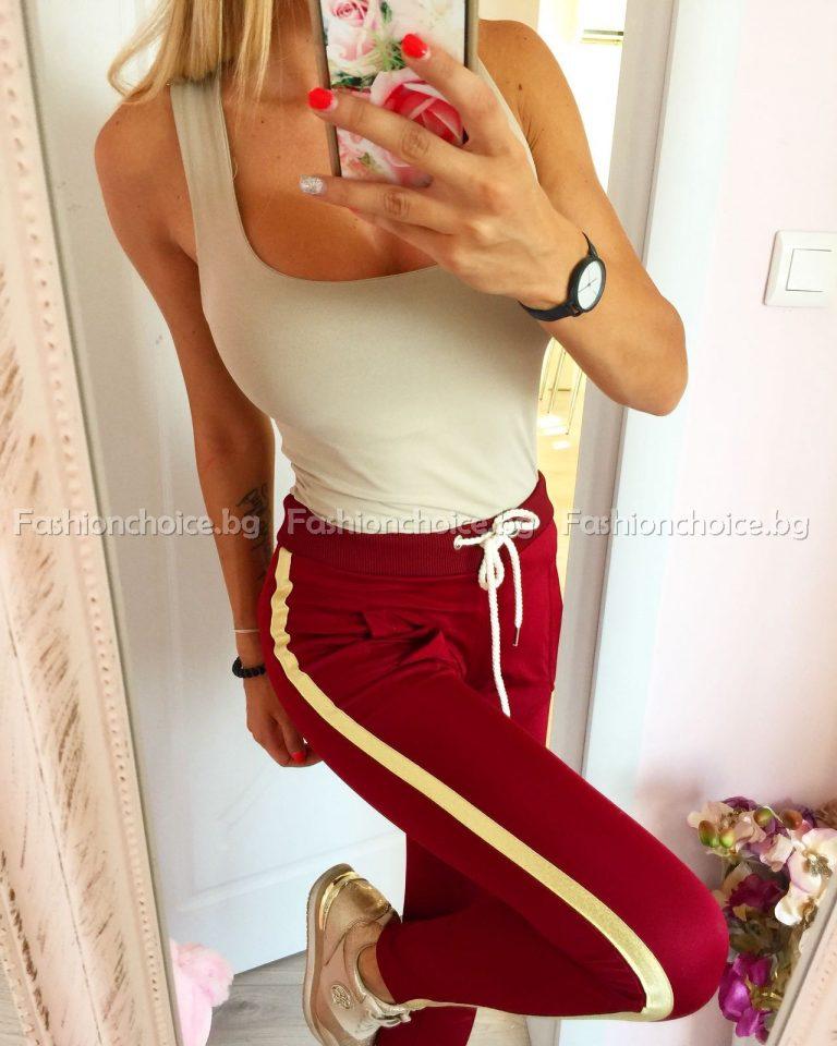 Дамски панталон в бордо със златен кант