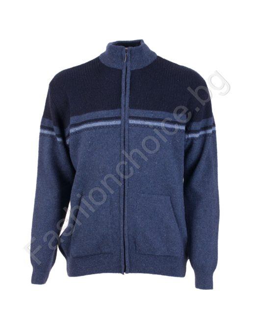 Топла мъжка плетена жилетка с цип / 5XL, 6XL, 7XL, 8XL /