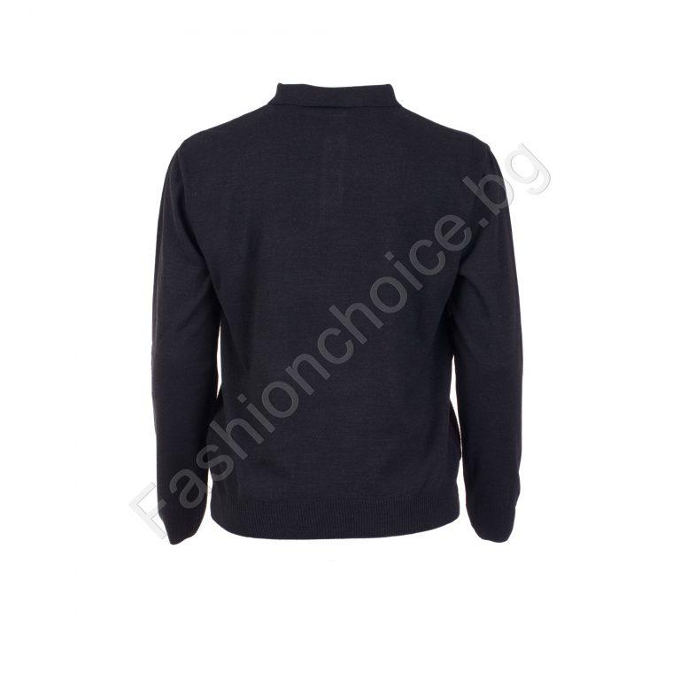Топъл мъжки макси пуловер с копче и яка в синьо и черно
