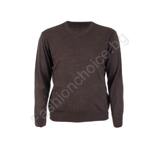 Мъжка макси блуза от фино плетиво шпиц деколте