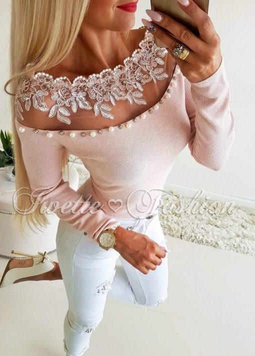 Хит модел дамска блуза в пудра