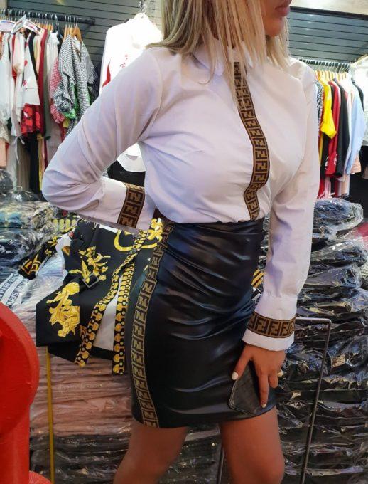 Шикозна кожена дамска пола с моден кант