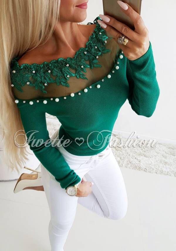 Хит модел дамска блуза в зелено