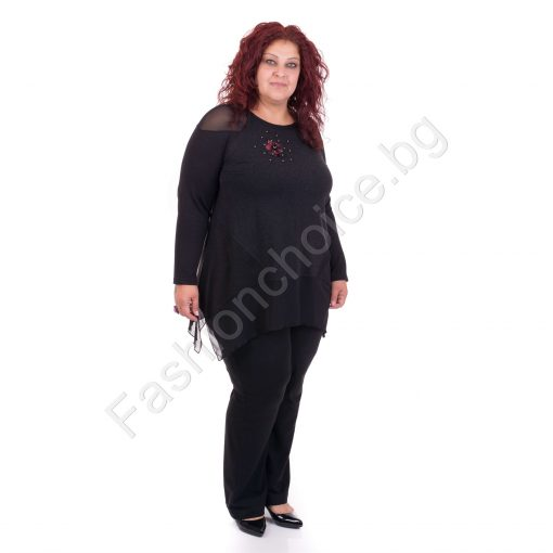 Черна дамска макси блуза с цветна апликация и нежен тюл