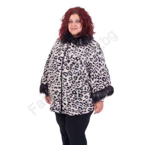 Невероятен макси жакет в леопардов принт с качулка и еко косъм