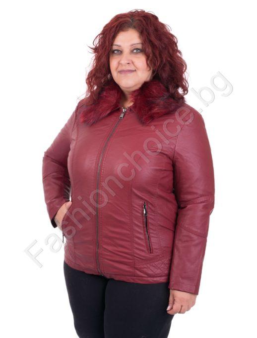 Елегантно плътно кожено макси яке с еко косъм в три цвята