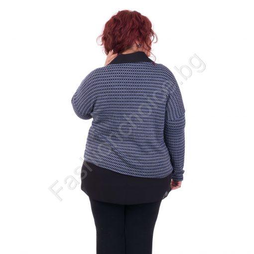 Комфортна дамска макси блуза със шпиц деколте от две части