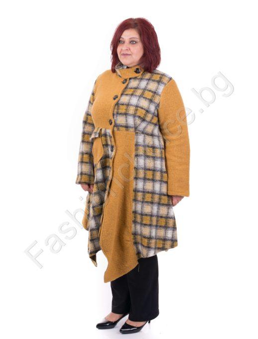 Екстравагантно дълго вълнено макси палто на каре