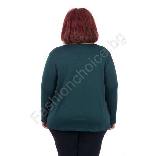 Свежа дамска блуза с оригинална щампа/макси размери/
