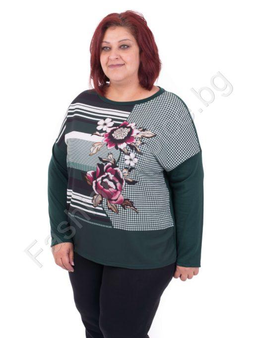 Пъстра дамска макси блуза с модерен принт