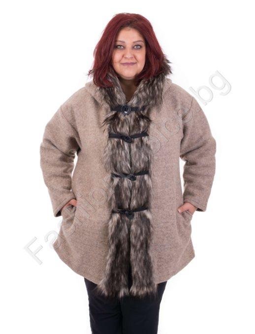 Вълнено дамско палто с прекрасен косъм в два цвята/макси размери/