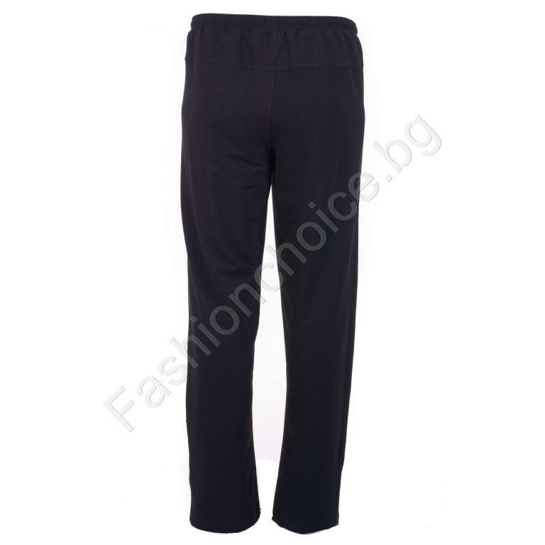 Мъжко макси спортно долнище от памук-ликра в черно