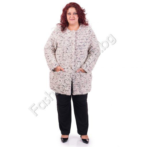 Бутиково вълнено макси палтенце от нежно букле за макси дами