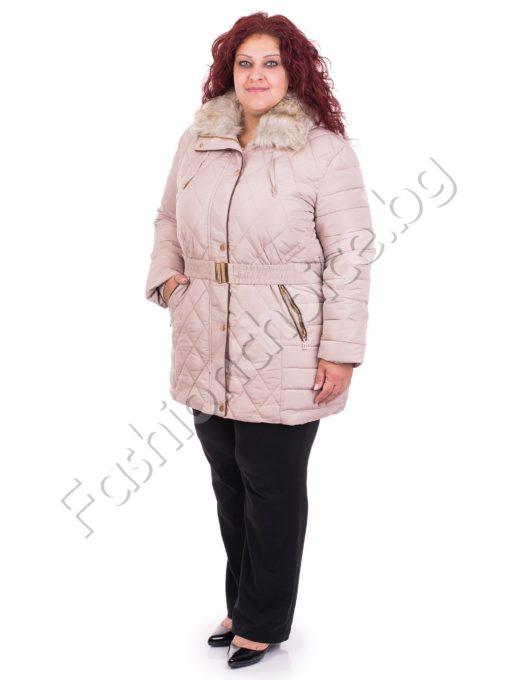 Зимно дамско макси яке с коланче в три актуални десена