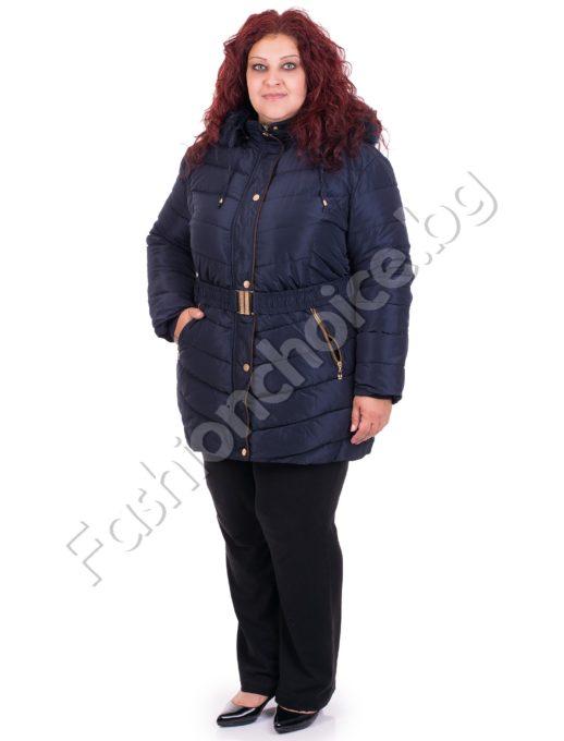 Зимно дамско макси яке с коланче в модерни цветове