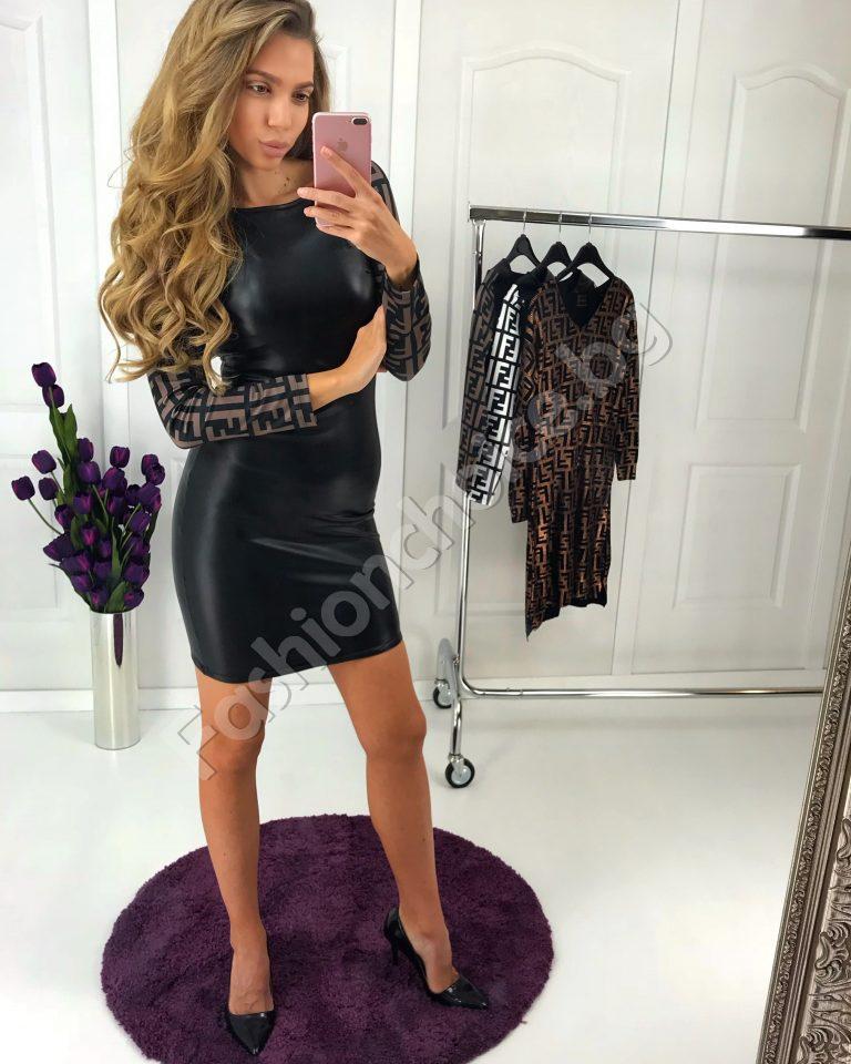 Къса секси рокля от еко кожа с шарени ръкави