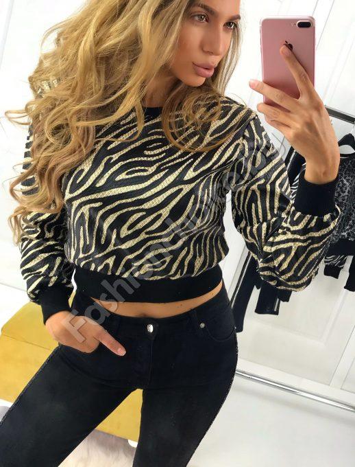 Кокетна къса дамска блузка в златно