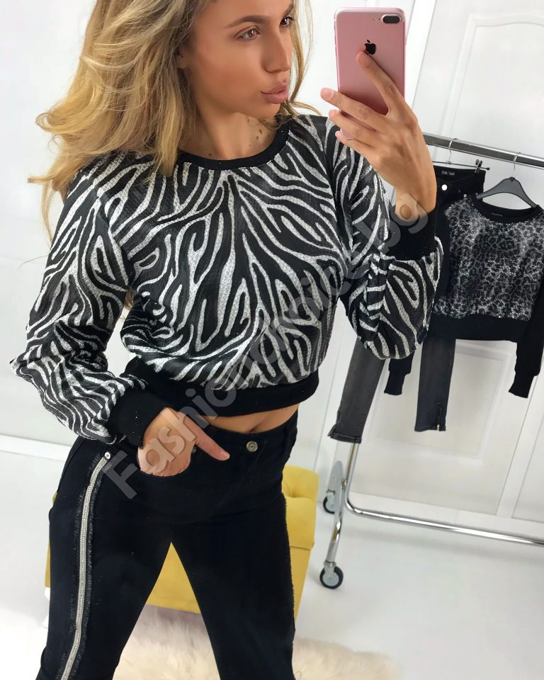 Кокетна дамска блузка в сребристо