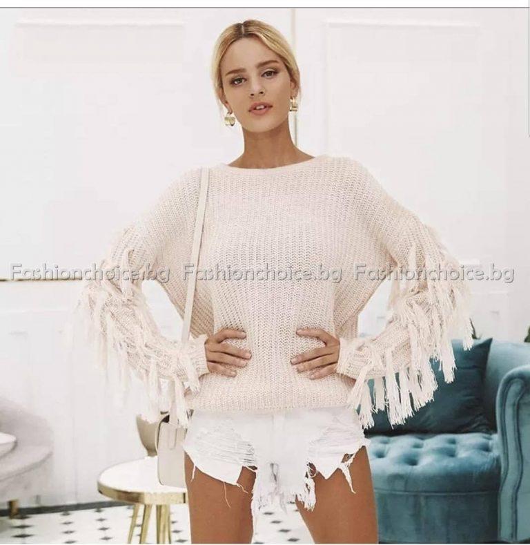 Модерен дамски пуловер с ресни в снежно бяло