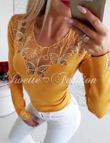 Дамска блуза в цвят горчица с ефектни пеперуди и камъни