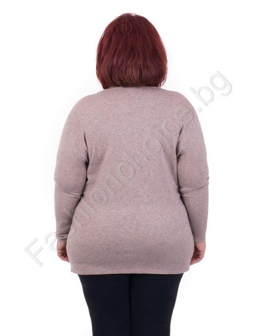 Дамска блузка с интересна щампа в топли нюанси