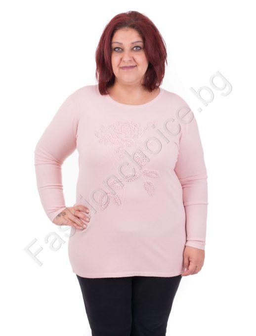 Обаятелна дамска макси блузка с букет от розички
