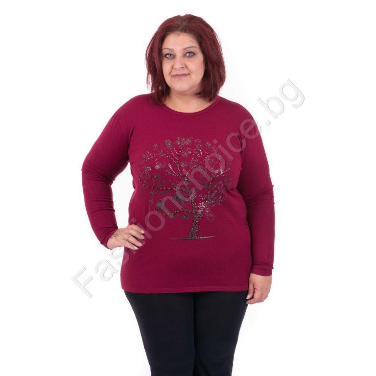 Великолепна дамска макси блузка от финно плетиво с цветен букет