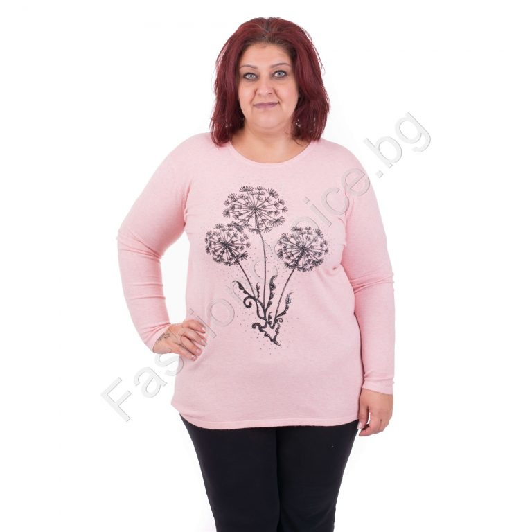 Нежна дамска макси блузка с камъчета и щампа